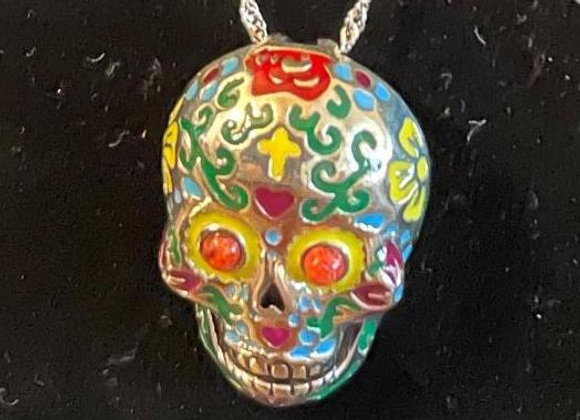 Red Coral with Enamel Day of the Dead Pendant