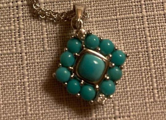 Cabochon Sleeping Beauty Turquoise and Zircon Sterling Silver Pendant