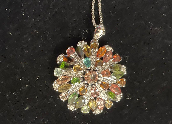 Zircon Stones on a Sterling Silver pendant/chain