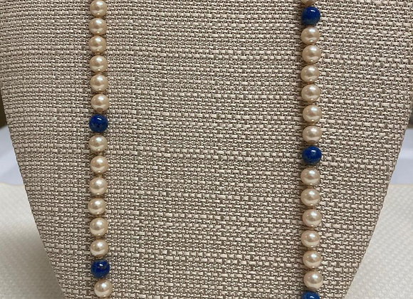 Cultured Pearls with Sodalite Beads Necklace