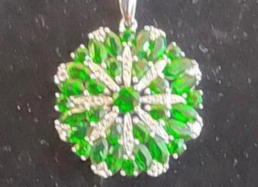 Green Crystals Sterling Silver Round Pendant Necklace.