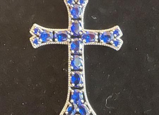 Blue Crystal and Sterling Silver Cross Pendant Necklace