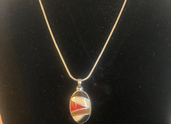 Enamel Pendant with Silver Snake Chain