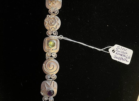 Sterling Silver Bracelet with Sapphire, Peridot and Amethyst Stones