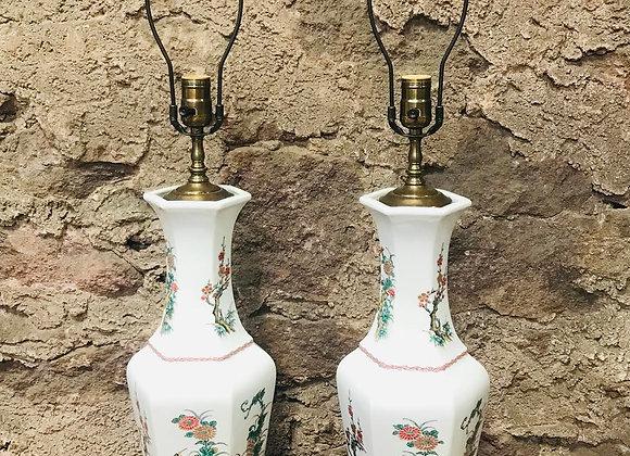 Pair of Chinoiserie Ceramic Lamps