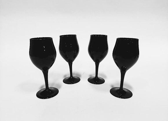 Mikasa: Four Black Onyx Wine Glasses/Two Black Onyx Champagne/Dessert Glasses