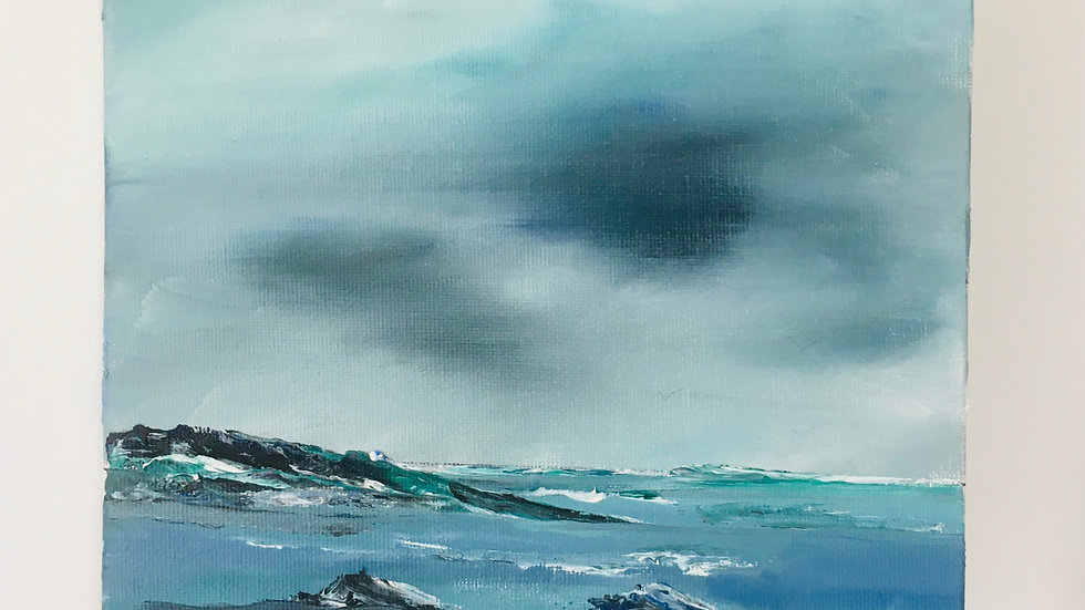 Grey skies over the sea