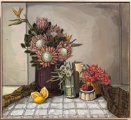 'country proteas & cloth' 123x113cm 2019 $5,850