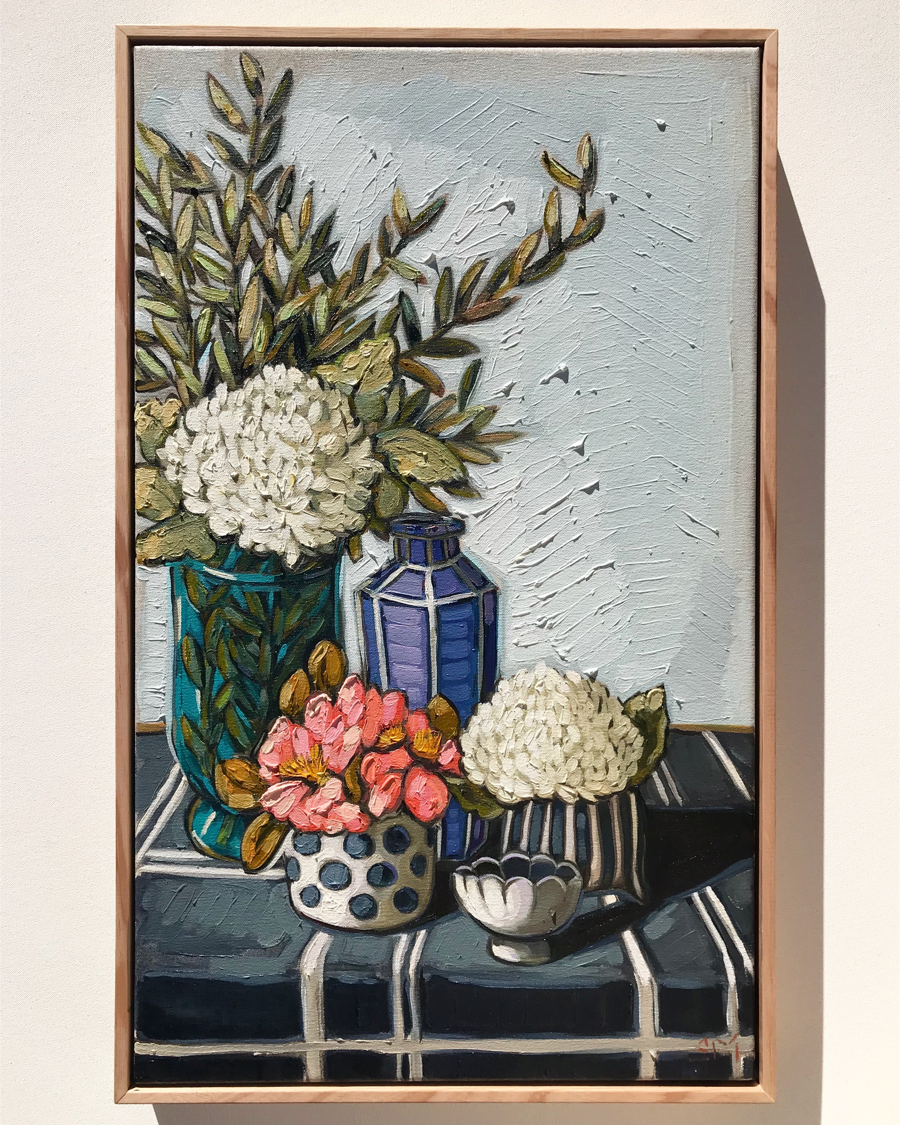 Sam Michelle 'Winter Chrysanthemums' 65x40cm