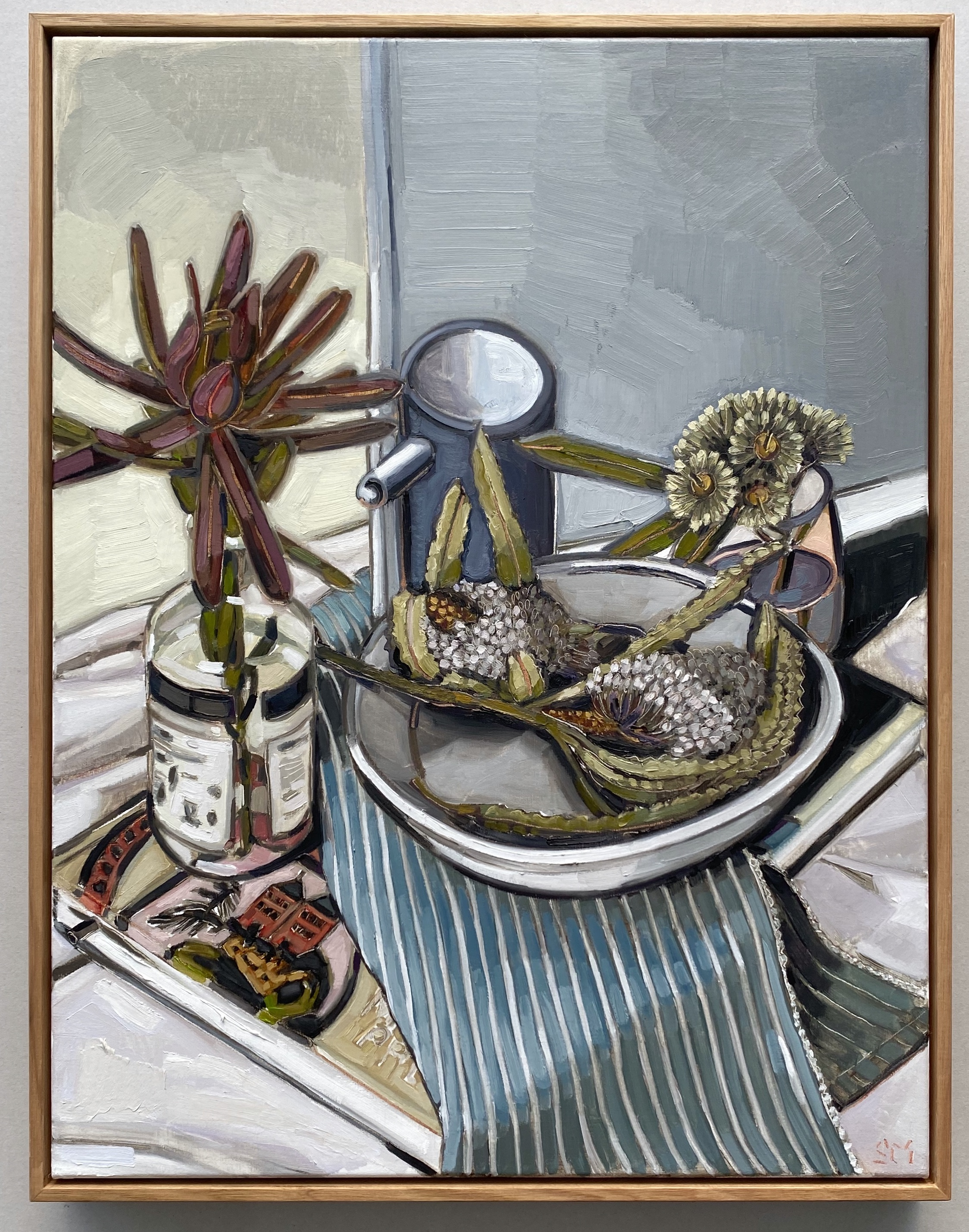 sam michelle 'margaret preston book & banksia' 68x53cm