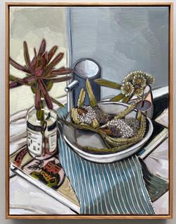 sam michelle 'margaret preston book & banksia' 68x53cm