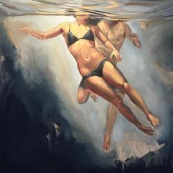 _ Size_ 75x75cm _ Title_ 'Never Letting Go' _ Medium_ Oil on Canvas  #underwater #underwaterart #und