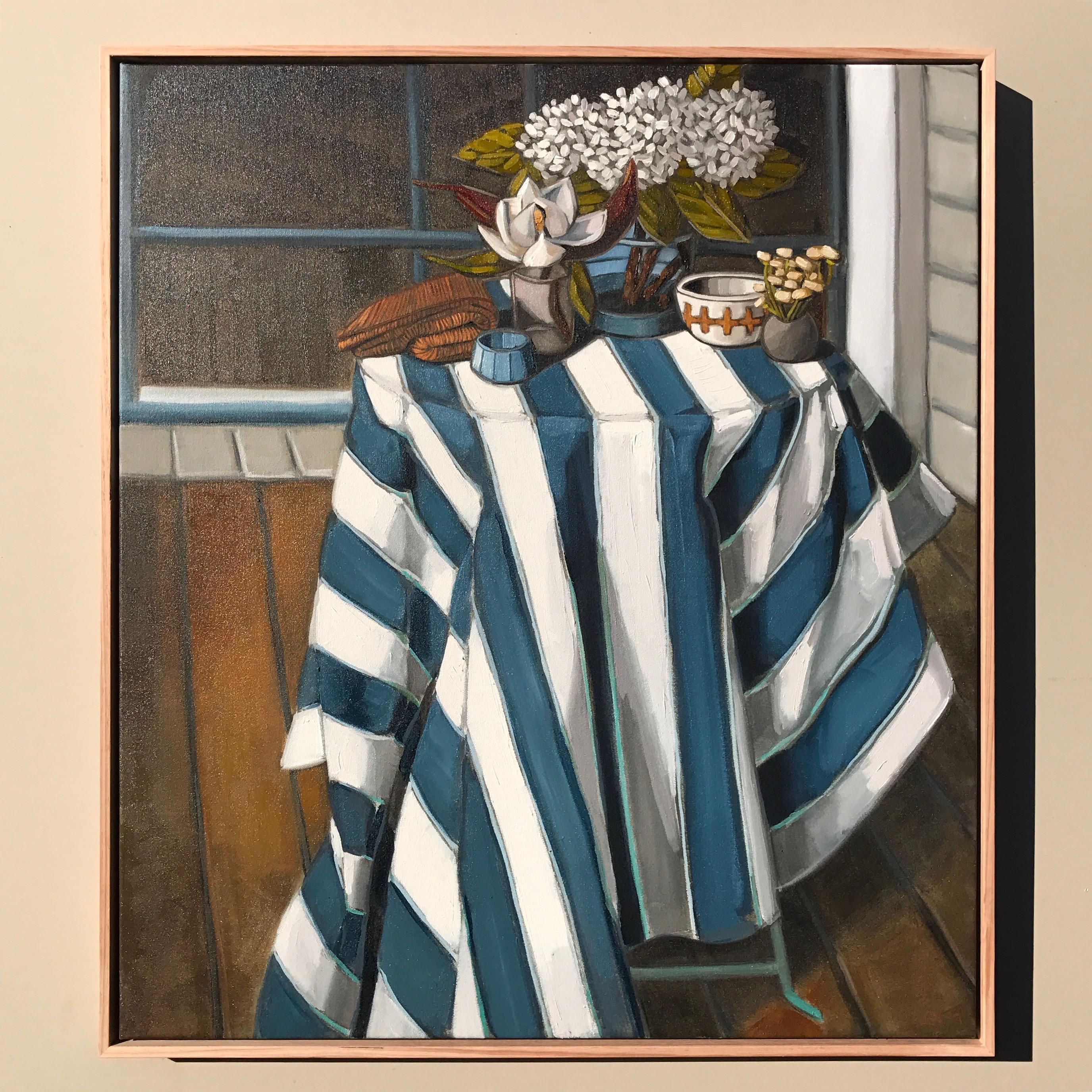 04_17 Still Life, Hydrangeas & Stripes 88cmx78cm $1,995