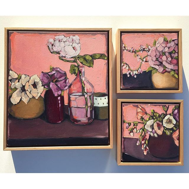 Instagram - 'Pink Series' (38x43, 23x23, 23x23cm) Oil on canvas. Price $995- (includes frame)