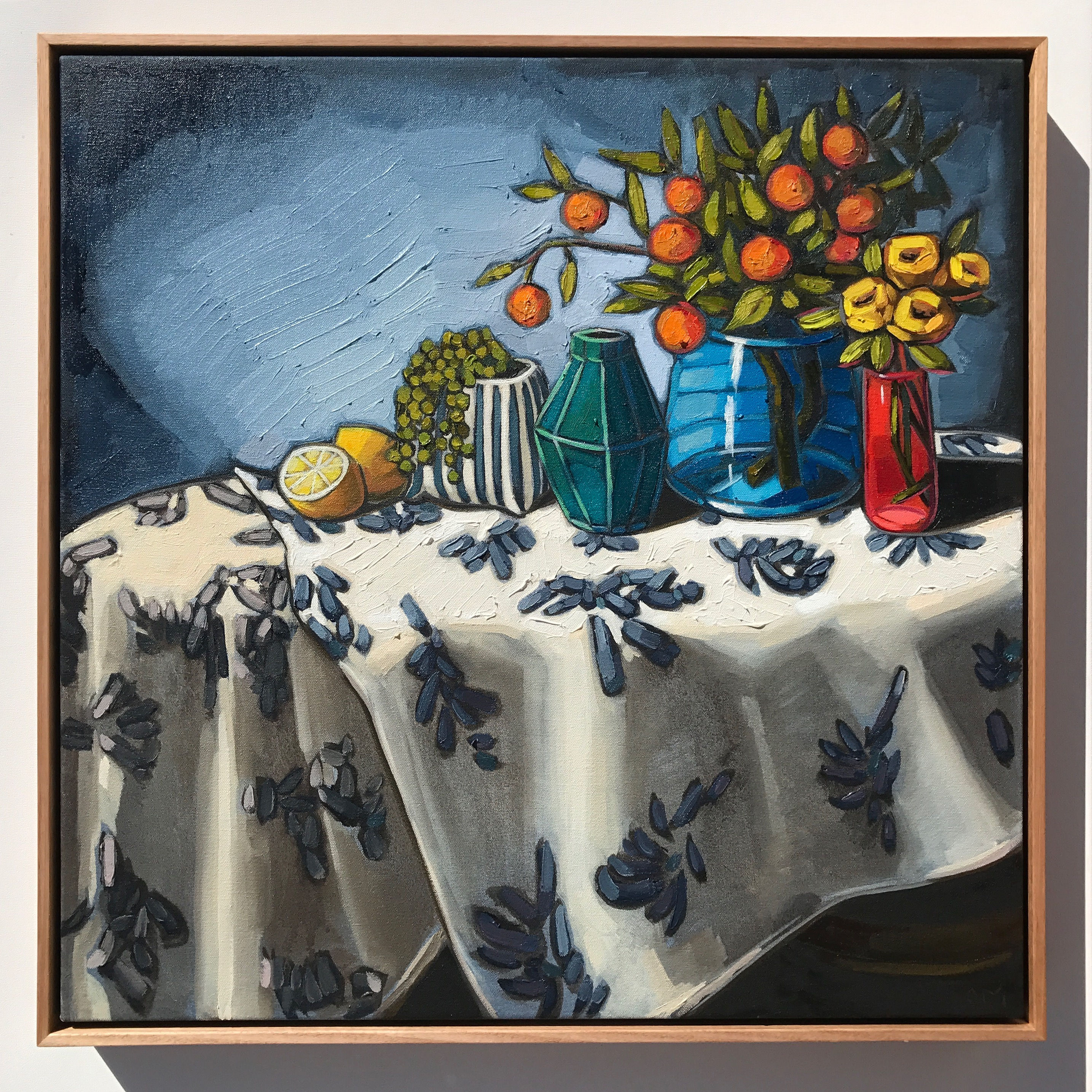 08_17 The Cloth Collection 'Cumquats & Blues' 63x63cm $2,495