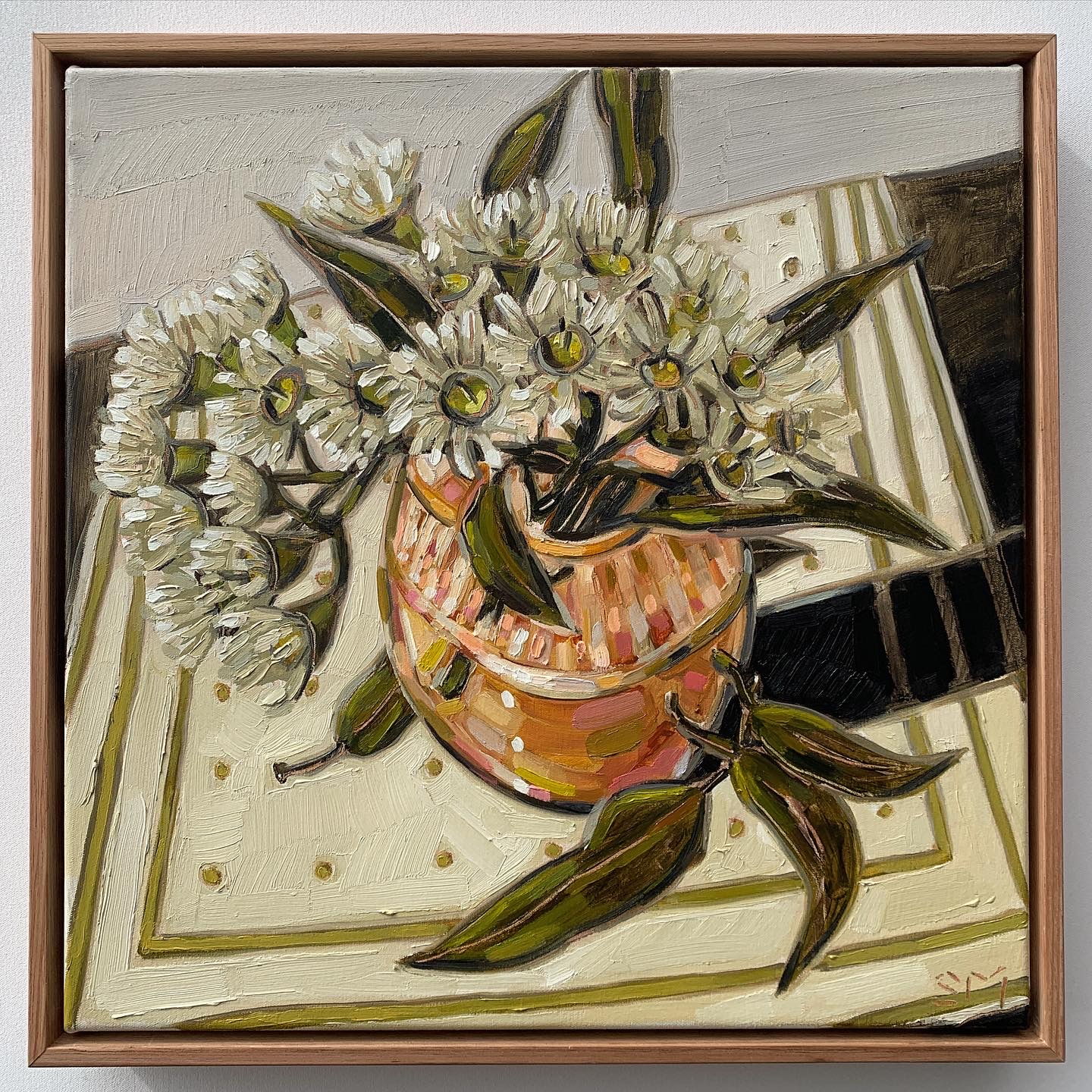 sam michelle 'blossoms & peach vase' 43x