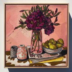 Sam Michelle 'Purple Lisianthus & Pears' 50x50cm