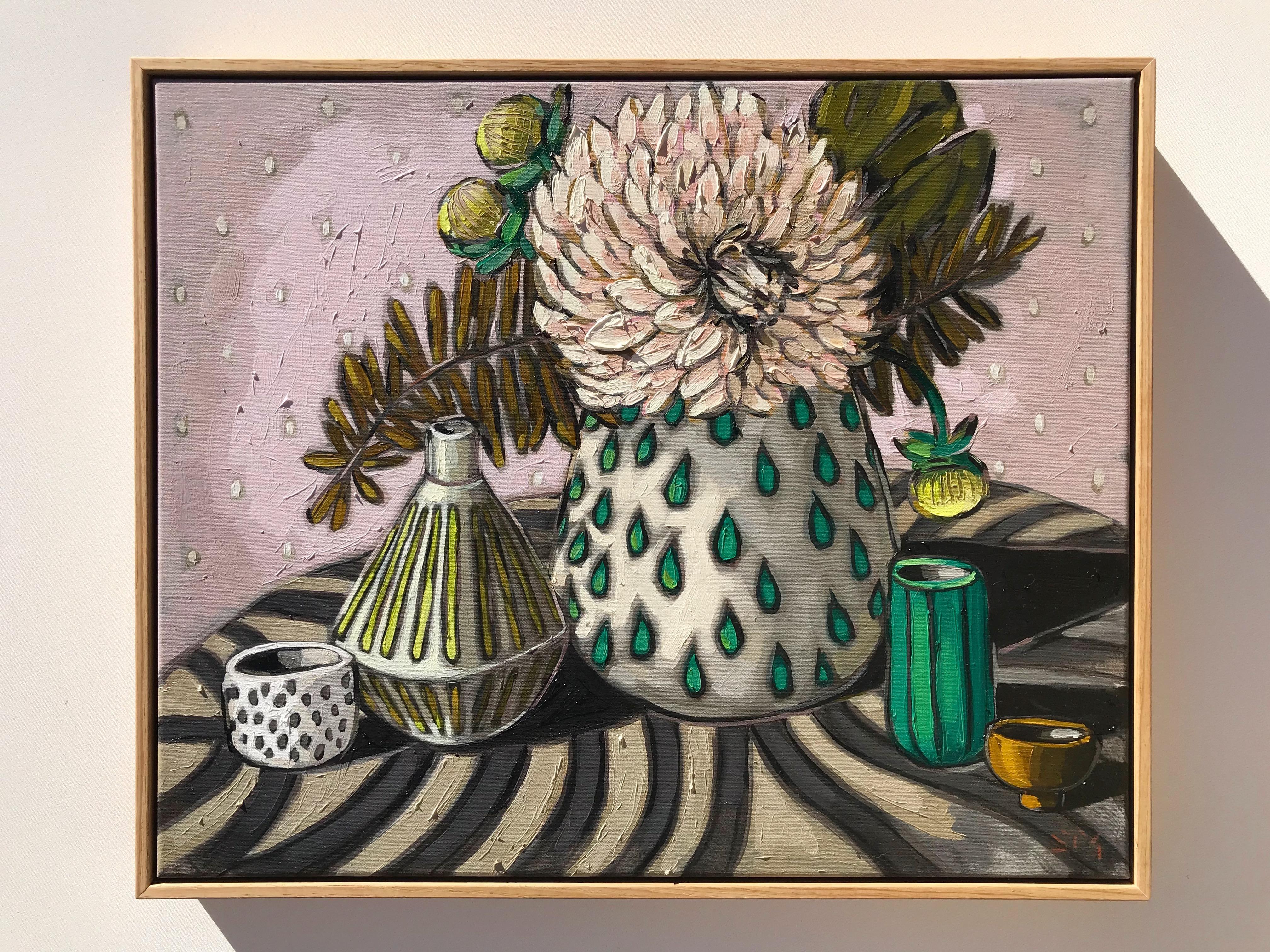 Sam Michelle 'Dahlia & Emerald' 48x58cm