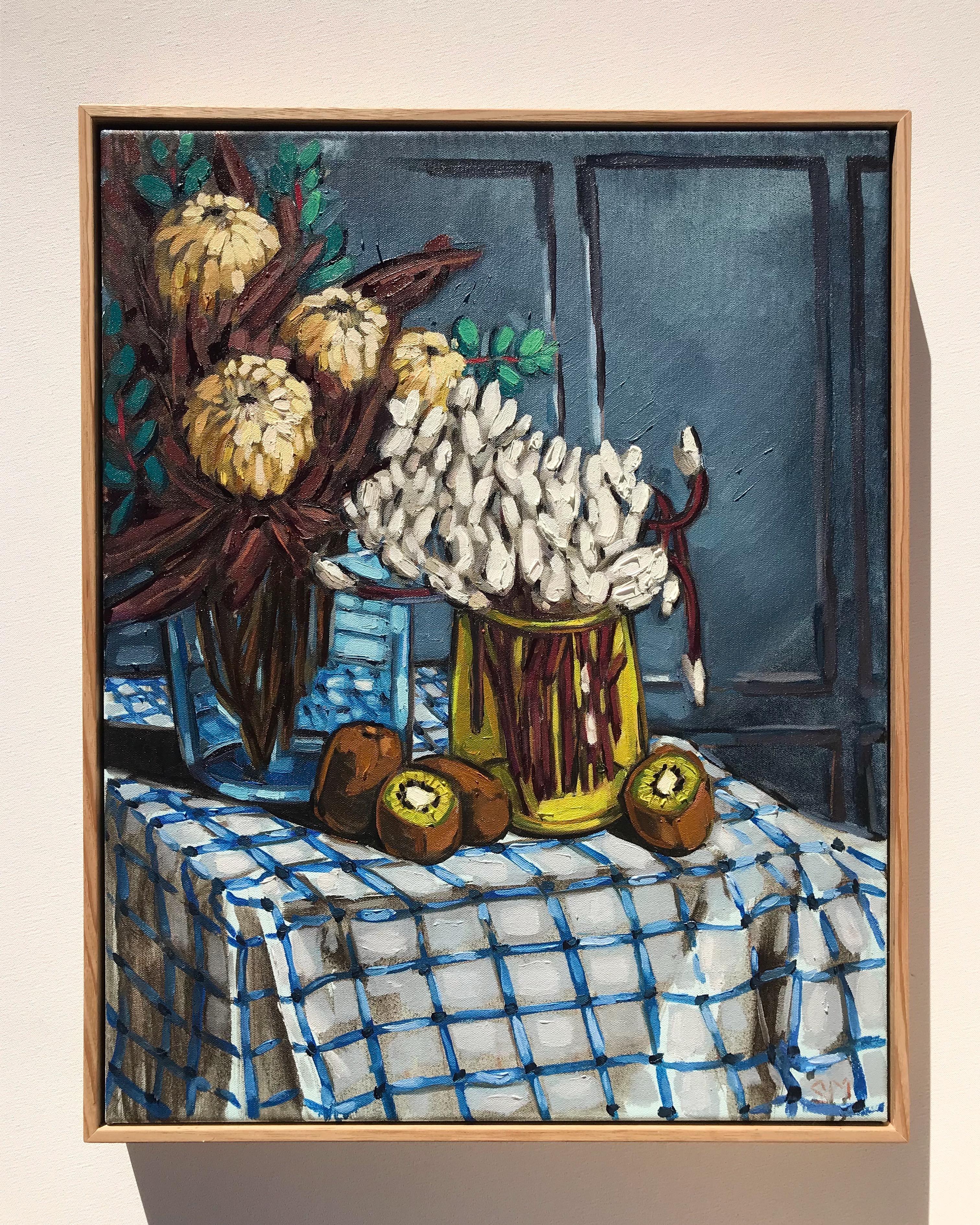 Sam Michelle 'Proteas, Cyclamen & Protea' 60x48cm
