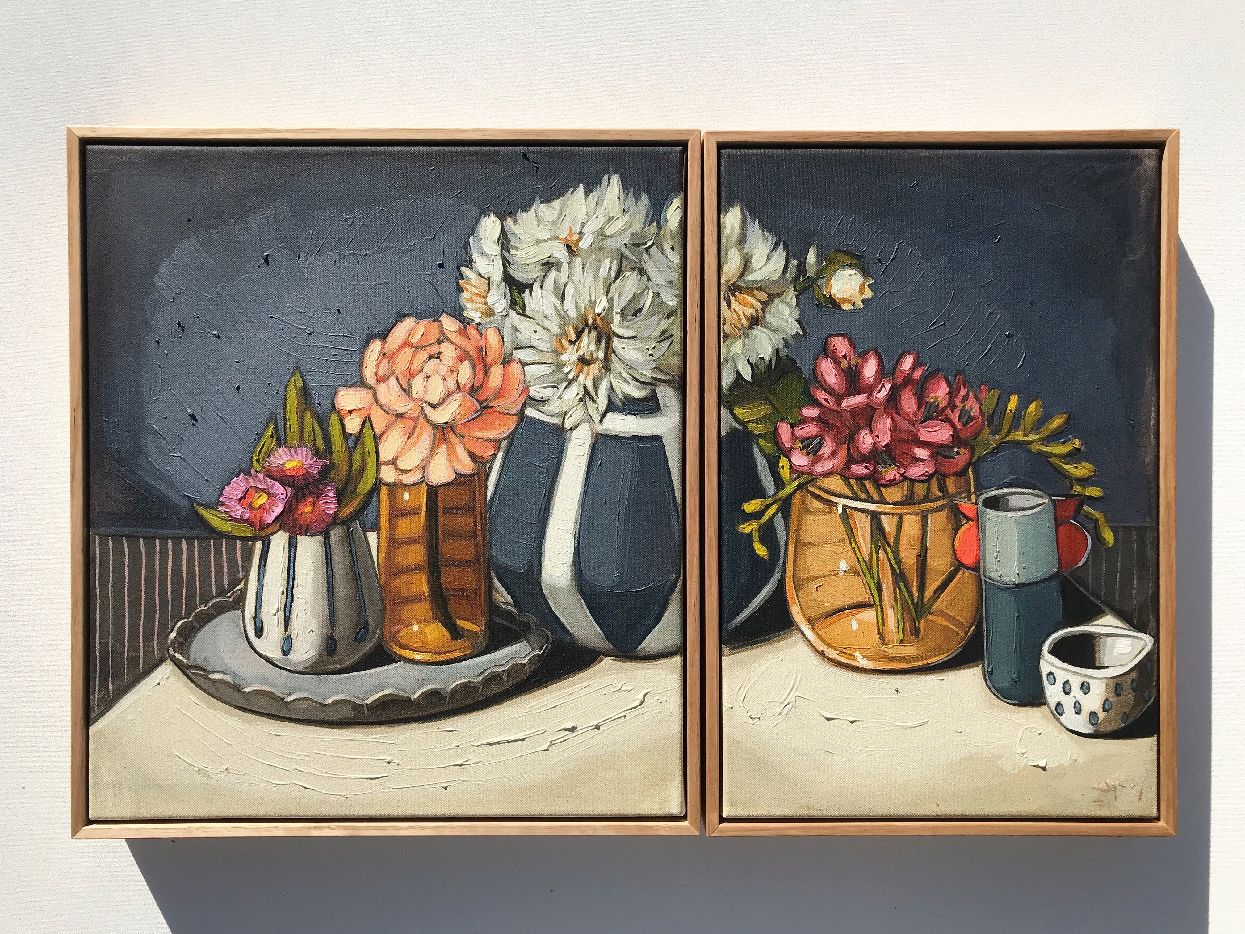 'Gum Blossoms, Dahlias & Freesias' 45x40, 45x30cm