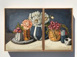 'Gum Blossoms, Dahlias & Freesias' 45x40, 45x30cm