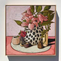 'Lilies & Rose' 65x65cm