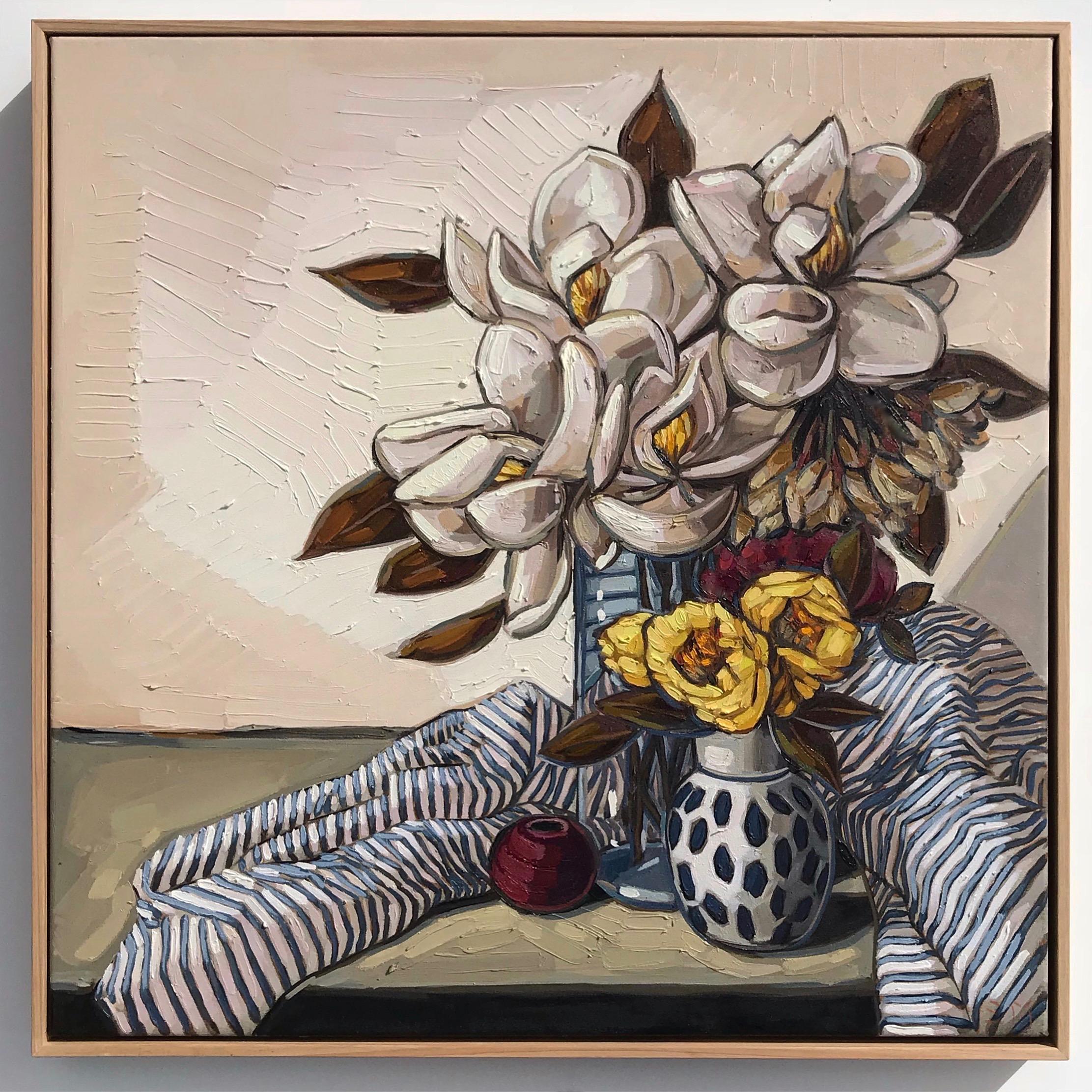 Sam Michelle 'Spring Magnolias' 67x67cm.