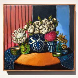 Sam Michelle 'Peonies in Monstera Vase'