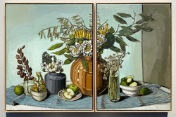 sam michelle 'nz flora' diptych 83x68cm & 83x58cm