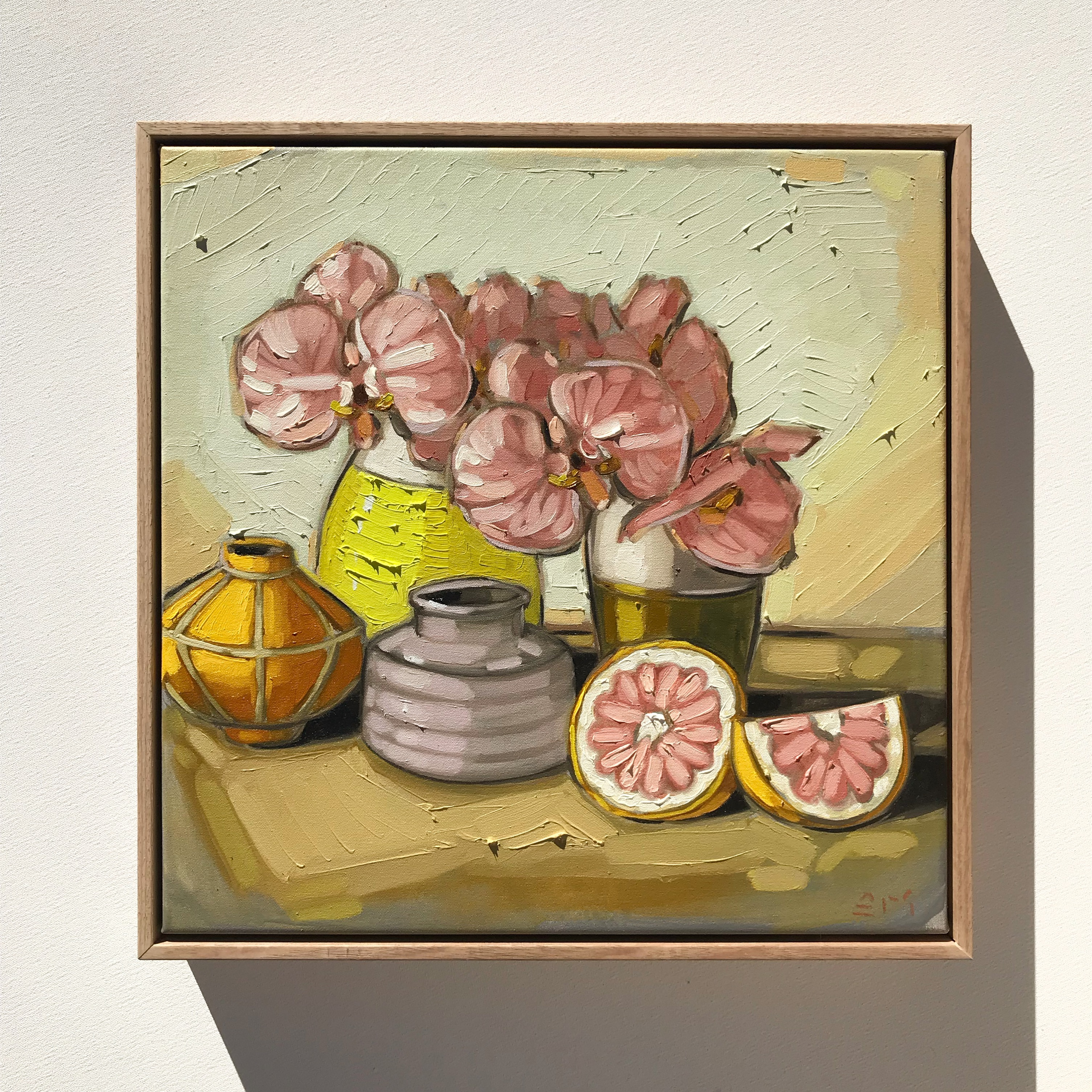Sam Michelle 'Grapefruit & Orchids' 43x43cm
