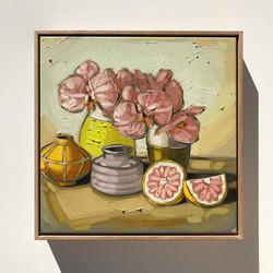 Sam Michelle 'Grapefruit & Orchids' 43x43cm