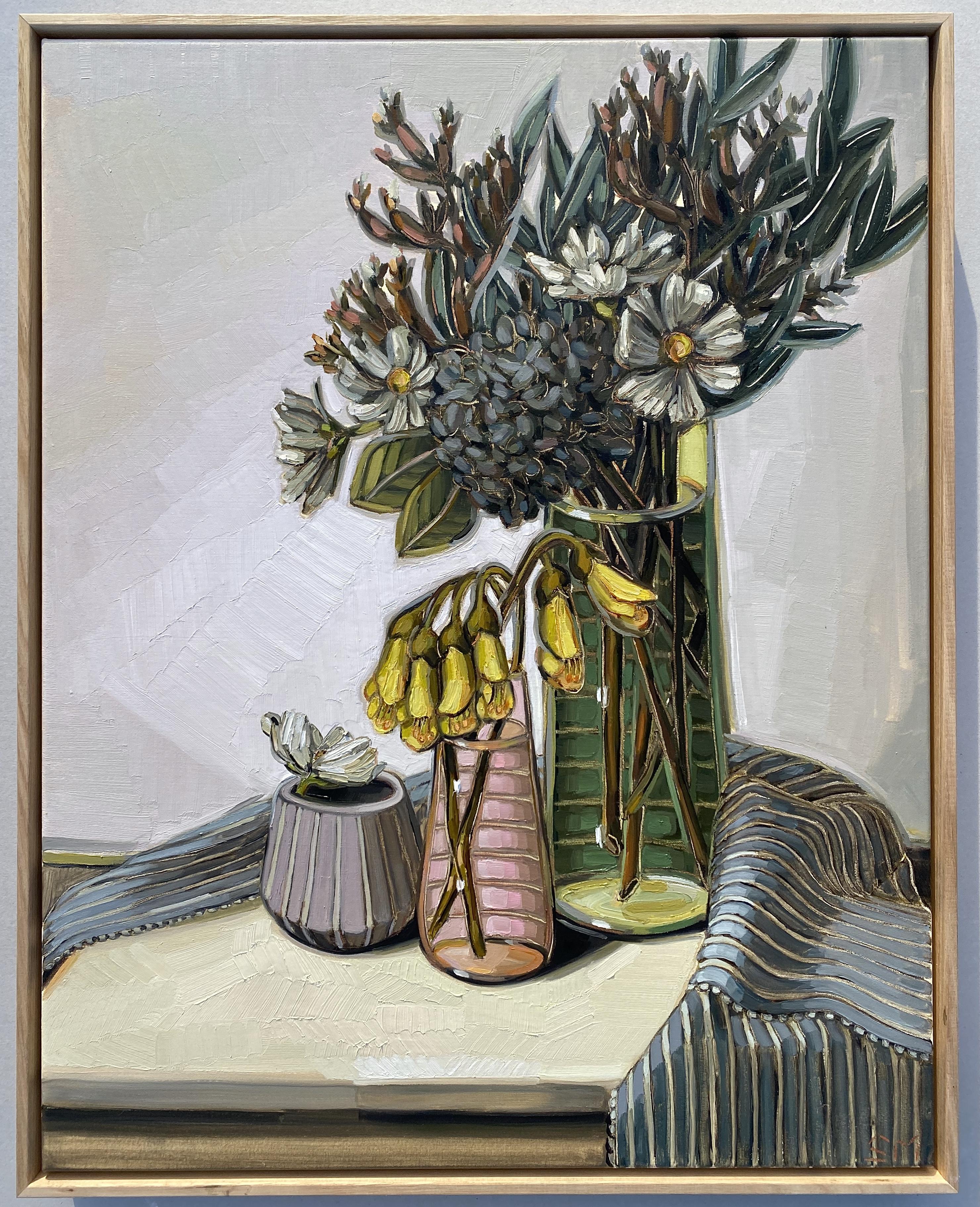 sam michelle 'nz kowhai, hydrangea & flax' 73x58cm
