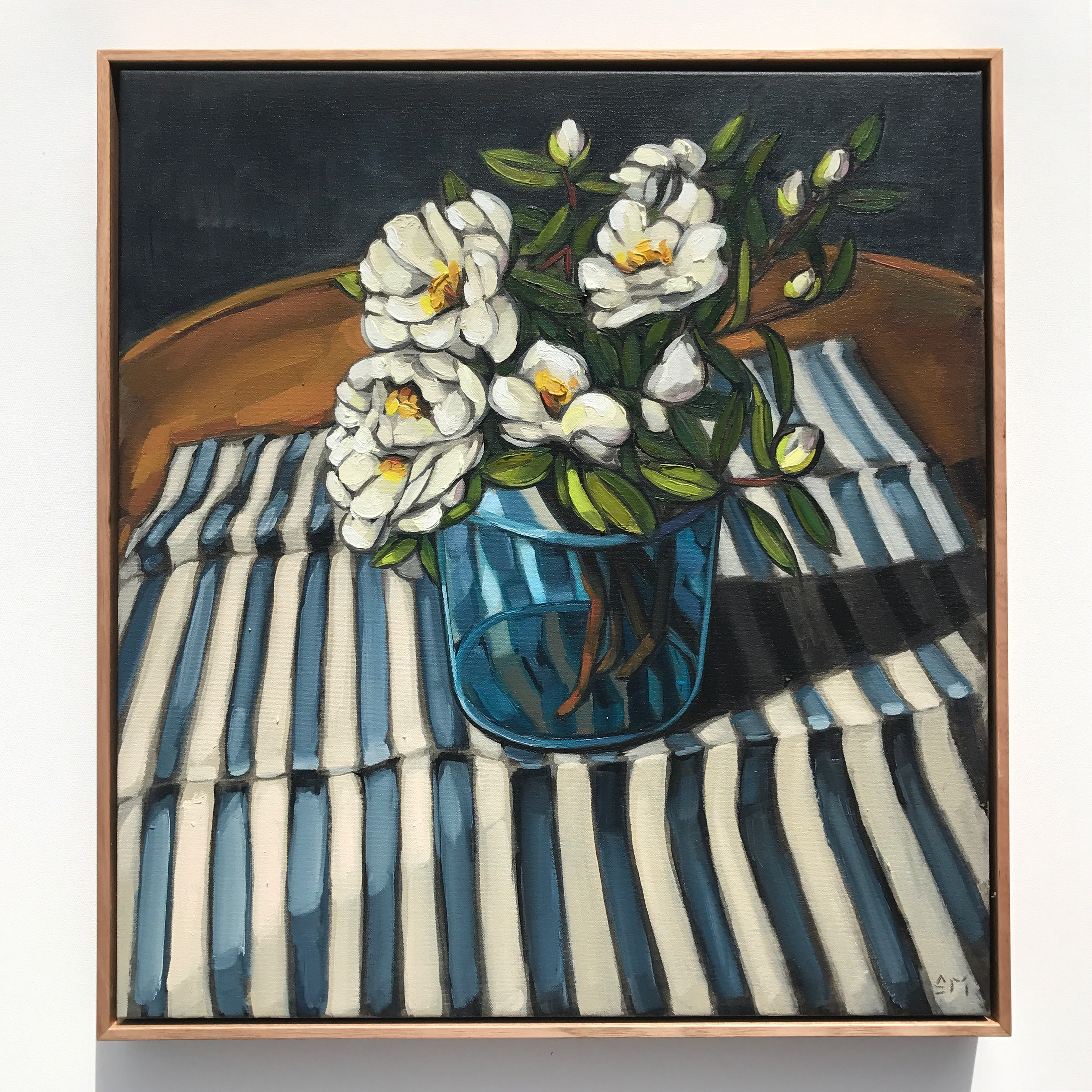 08_17 The Cloth Collection 'Camilleas & Stripes' 63x58cm $2,395