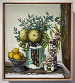 (5) sam michelle 'banksia baxteri, hakea & camomile' 48x43cm