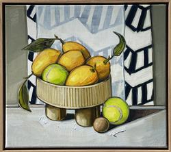 sam michelle 'lemons & tennis balls' 43x48cm 2021