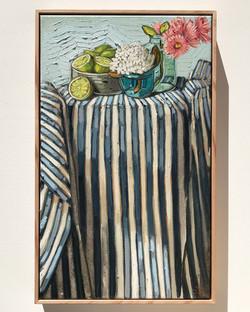 Sam Michelle 'Stripes & Lime' 65x40cm