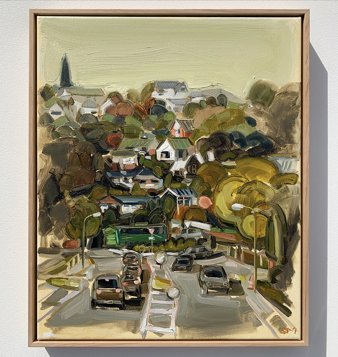 sam michelle 'hills, houses & bus' 58x48