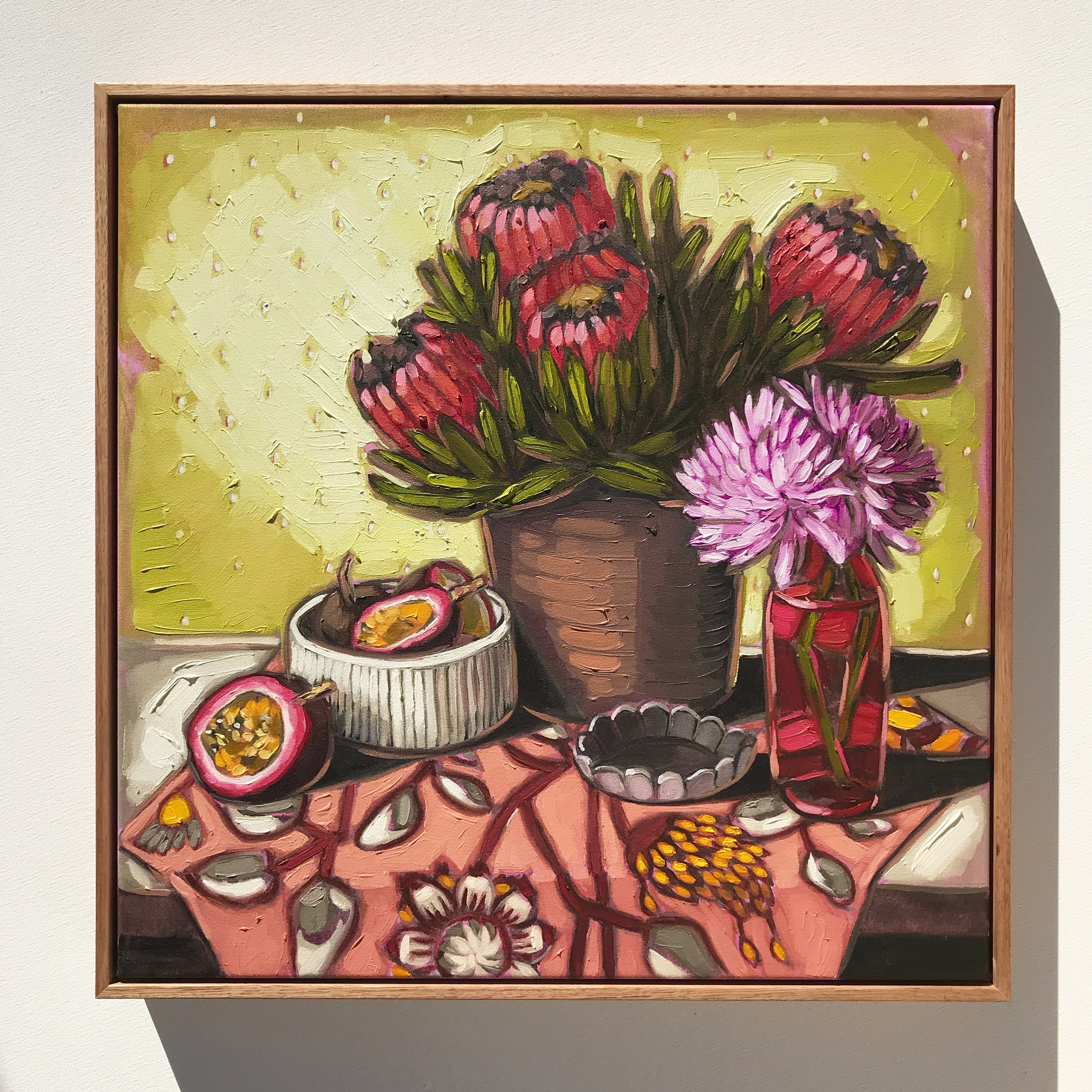 Sam Michelle ' Proteas & Passion Fruit' 53x53cm