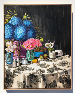 Sam Michelle 'Hydrangeas, Orchids, Gum & Kiwi'97x77cm