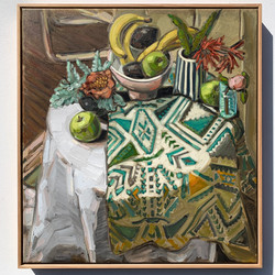 sam michelle 'peonies & fruits' 68x63cm