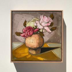 Sam Michelle 'Autumn Roses' 43x43cm