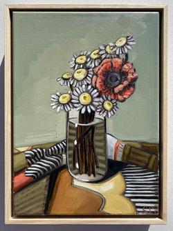 sam michelle 'puffy daisies & poppy' 38x
