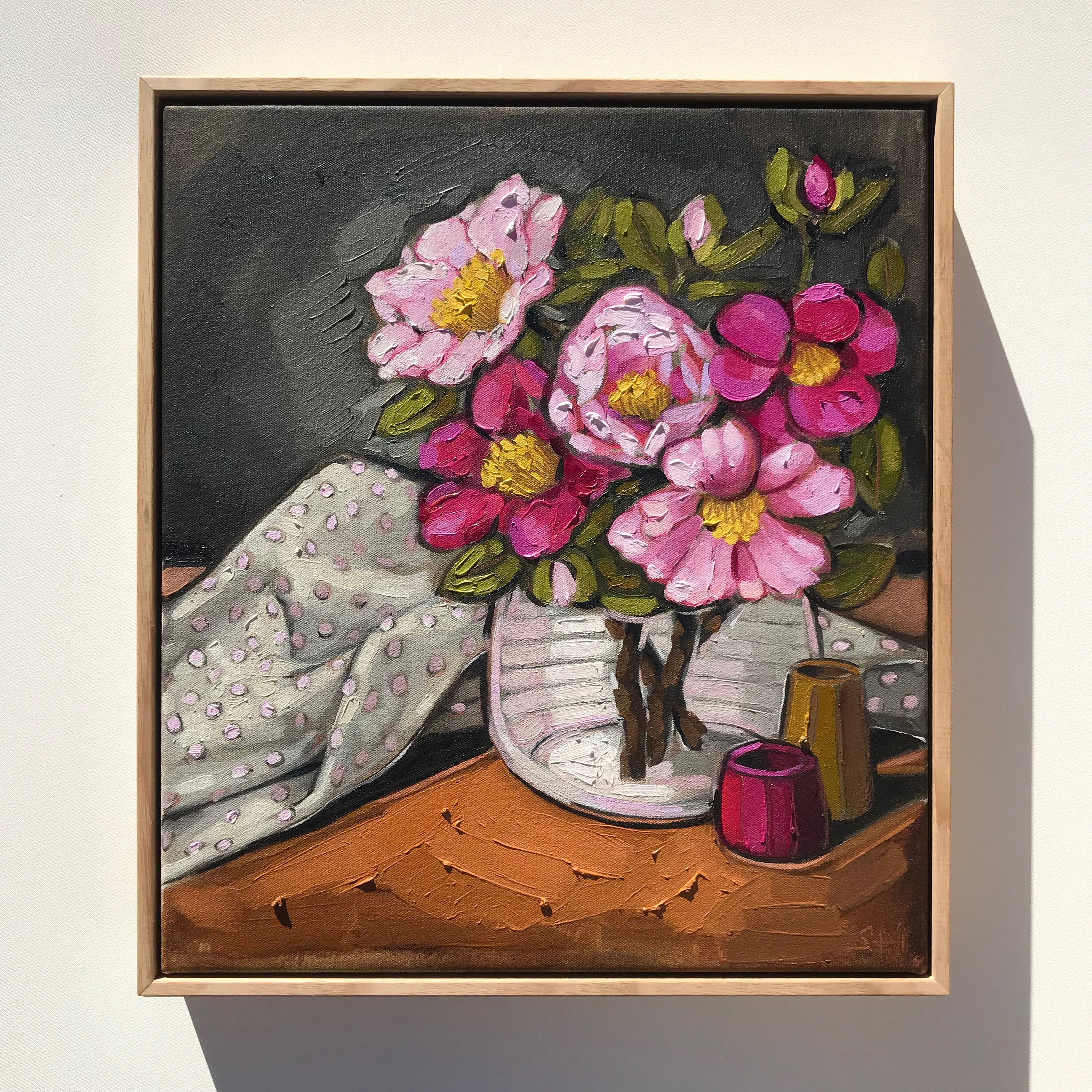 Sam Michelle 'Camellias & Spots'45x40cm