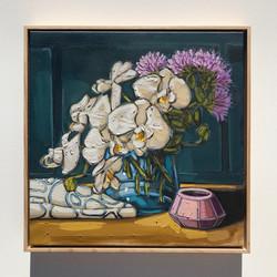 Sam Michelle 'Orchids & Blue'50x50cm