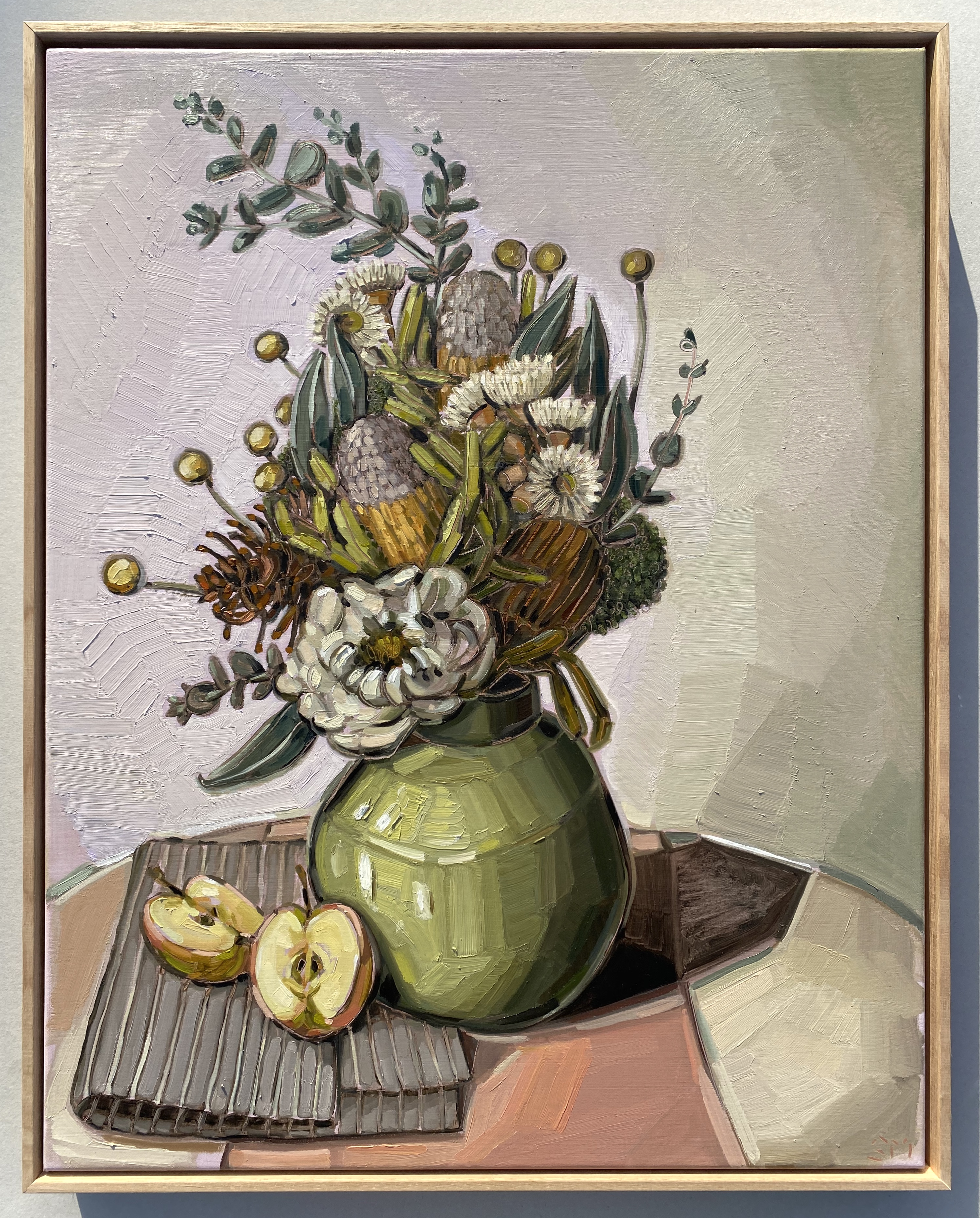 sam michelle 'australian natives, green vase & apples' 73x58cm