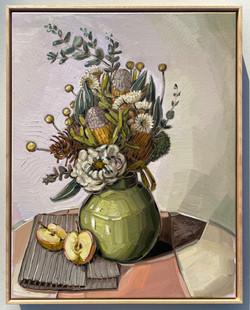 sam michelle 'australian natives, green vase & apples' 73x58cm