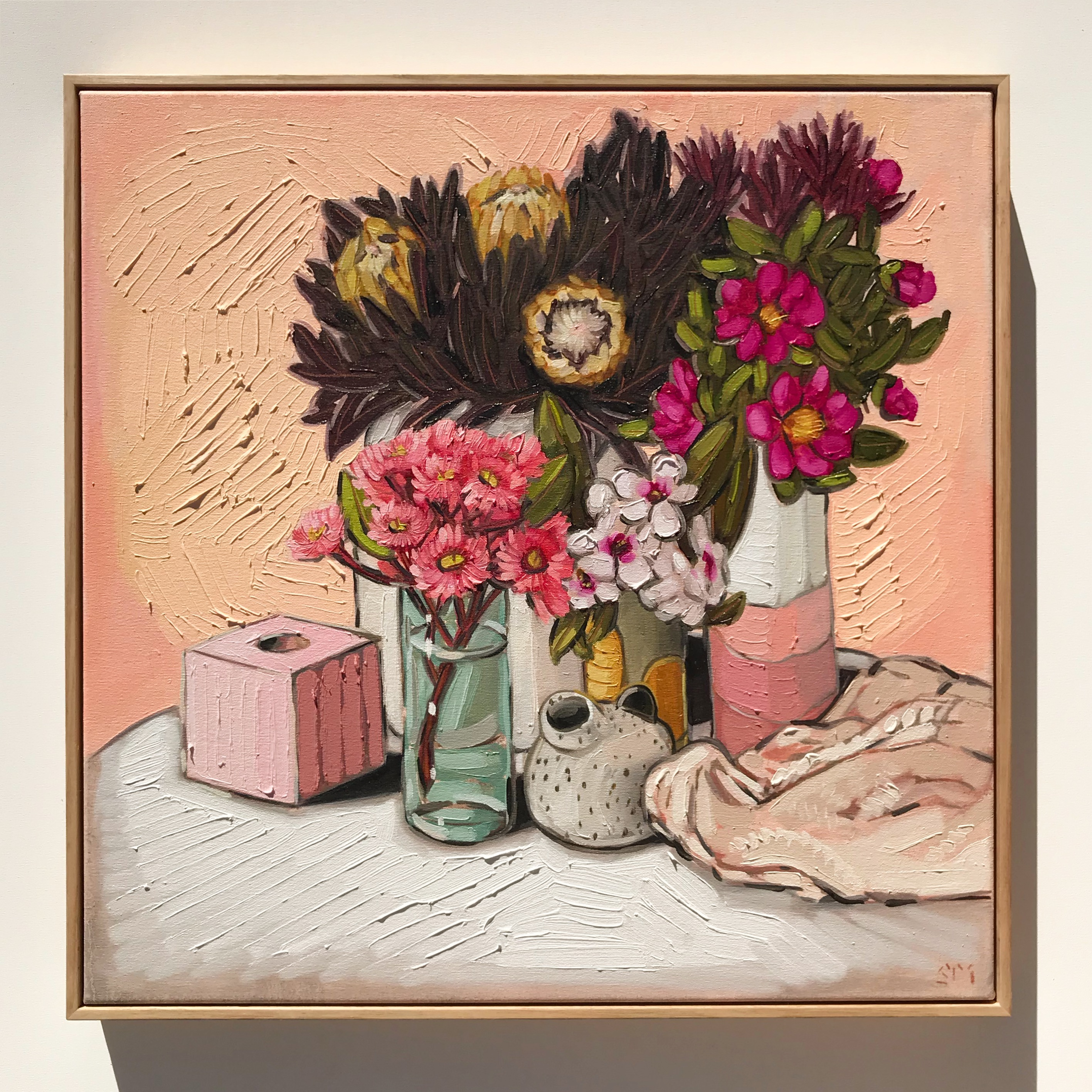 Sam Michelle 'Protea, Gum Blosson & Camellias' 65x65cm