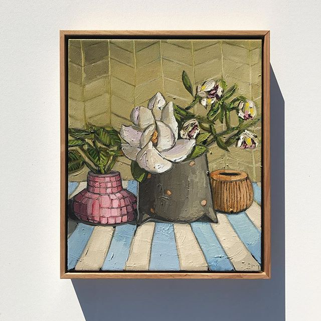 'Magnolia & Stripes' 46x36cm, part of my FLOURISH exhibition, finishing at _saint_cloche on Sunday �