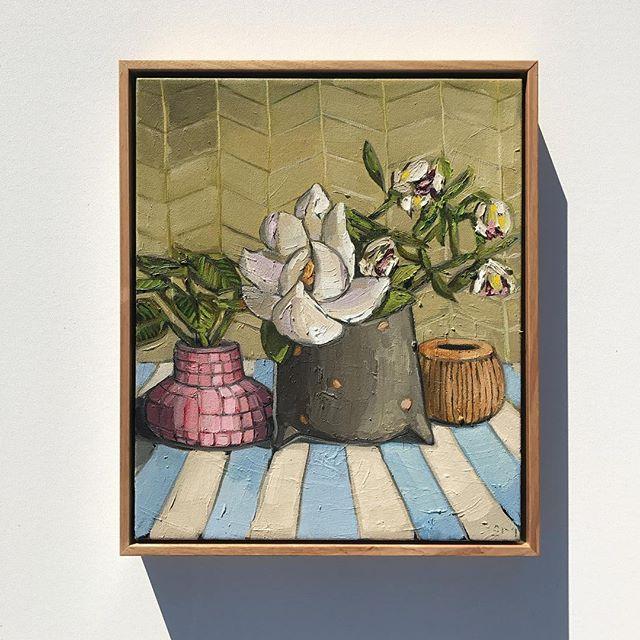 'Magnolia & Stripes' 46x36cm, part of my FLOURISH exhibition, finishing at _saint_cloche on Sunday �