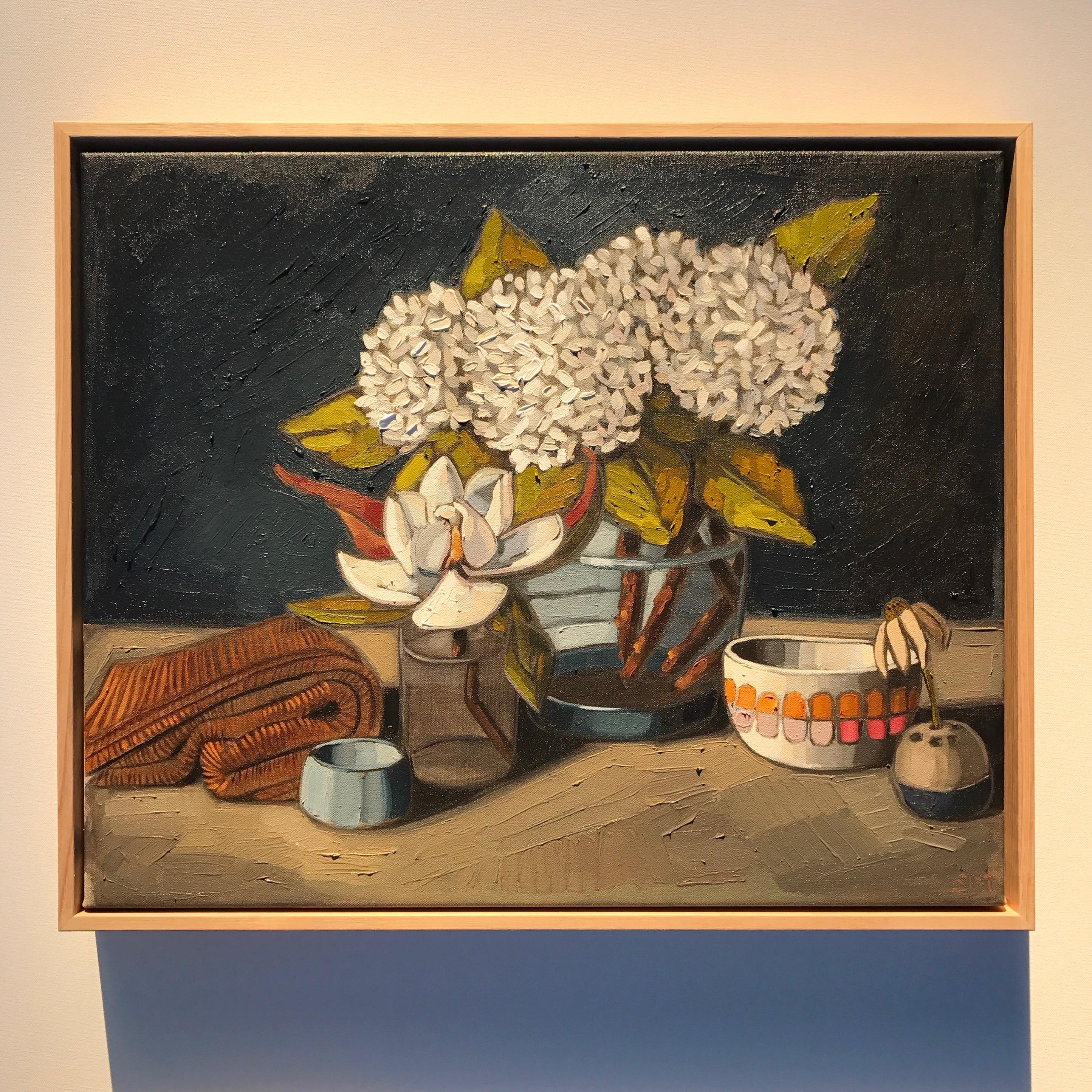 04_17 Magnolia & Hydrangeas 59x49cm $1,095